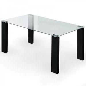 TABLE À MANGER SEULE Table à manger oslo NOIR VERRE TRANSPARENT