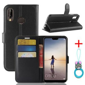 HOUSSE - ÉTUI Etui Coque Huawei P20 lite Noir PU Cuir avec prote