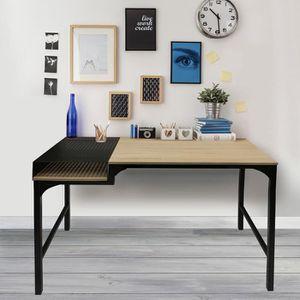 BUREAU  Bureau 100x50x75,5 cm en en bois et métal noir