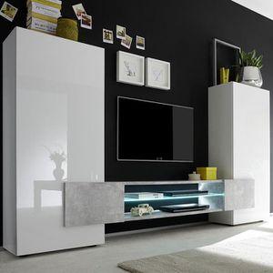 MEUBLE TV Meuble tv mural blanc et effet béton LUXOR 2  Avec