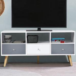 MEUBLE TV Meuble TV EFFIE scandinave 3 tiroirs bois blanc et