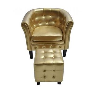 Fauteuil couleur or chesterfield original repose pied for Fauteuil original salon