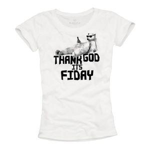 T-SHIRT T-Shirt Geek Femme THANK GOD IT´S FRIDAY Blanc Top