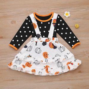 T-SHIRT Tout-petits enfants de bébé Halloween Pumpkin Dot
