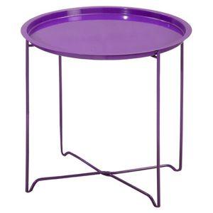TABLE D'APPOINT Table guéridon ronde en métal Violet, H45 x L45...