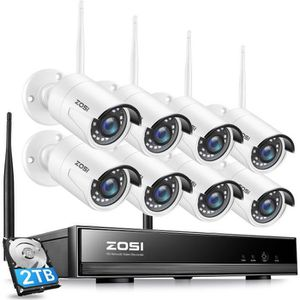 CAMÉRA DE SURVEILLANCE Wireless 1080p Kit Vidéo Surveillance sans Fil, 8c