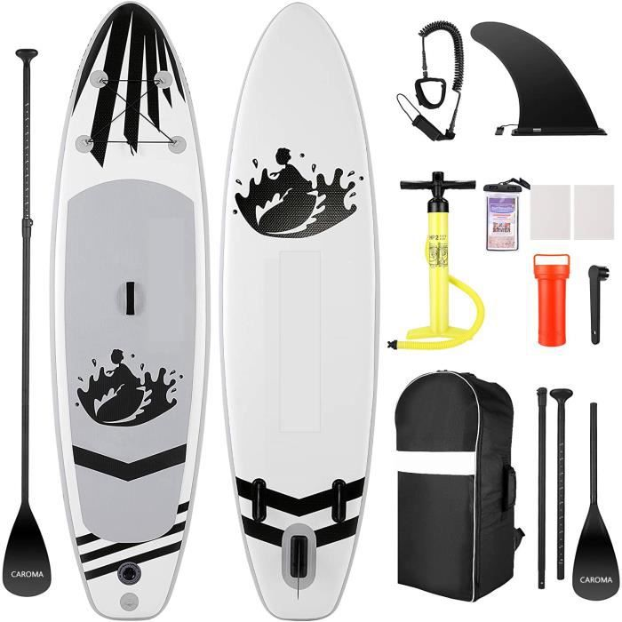 Stand Up Paddle Gonflable-Board Deck-Charge120kg-305x76x15cm-Noir blanc-CAROMA