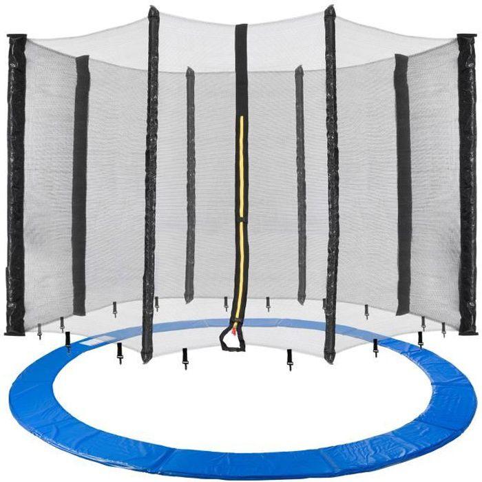 Arebos 460 cm Coussin de protection pour trampoline + filet pour 8 tiges