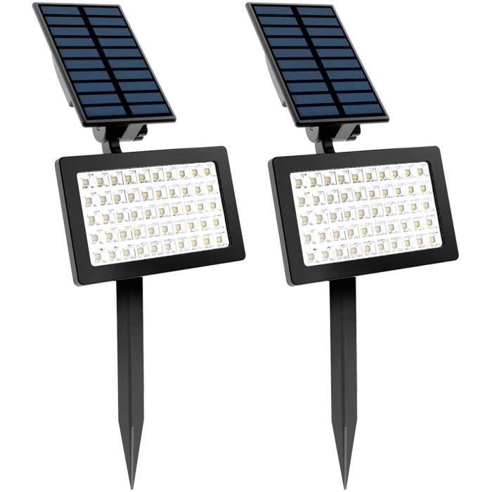 Projecteur solaire à LED 2pcs, applique murale extérieure 50LED, réglable à 180 °, lumière de sécurité de paysage étanche IP65,