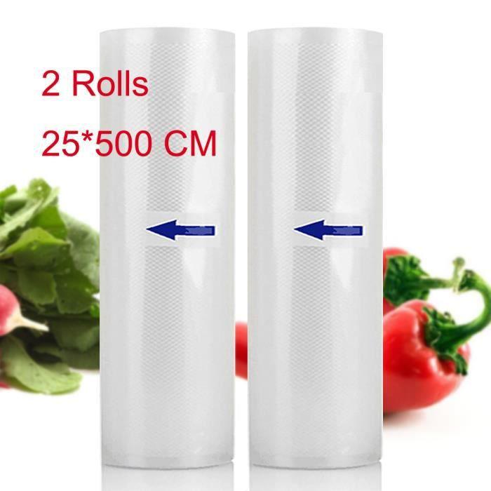 2 Rolls 25x500 CM Sacs À Vide Pour Stockage Alimentaire Vacuum Sealer Sac Économiseur De Nourriture Fresh World Vacuum Packaging
