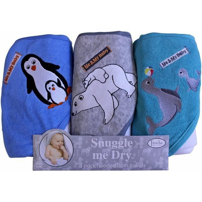 Pingouin/Ours Polaire/Seal Ensemble de serviette de bain serviette de bain à capuche, Lot de 3, Frenchie Mini Couture