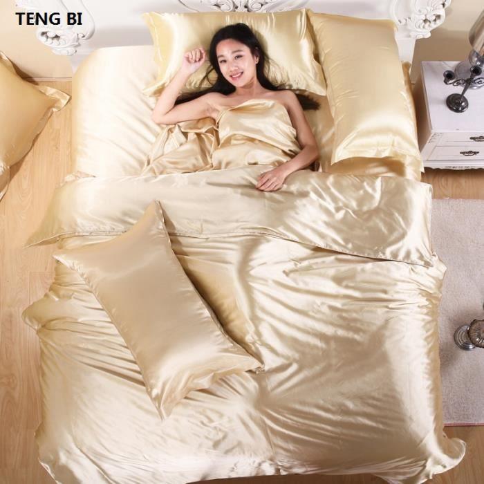 Couleur: Or Taille: Twin 3pcs No sheets pur satin soie ensemble de literie, Textile à la maison King size parure de lit, literie,