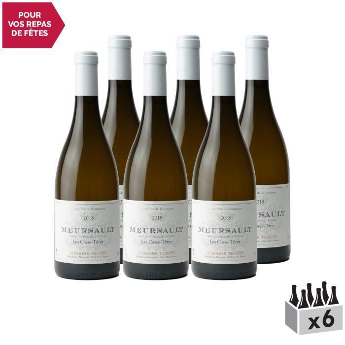Meursault Les Casse-Têtes Blanc 2018 - Lot de 6x75cl - Domaine Tessier - Vin AOC Blanc de Bourgogne - Cépage Chardonnay