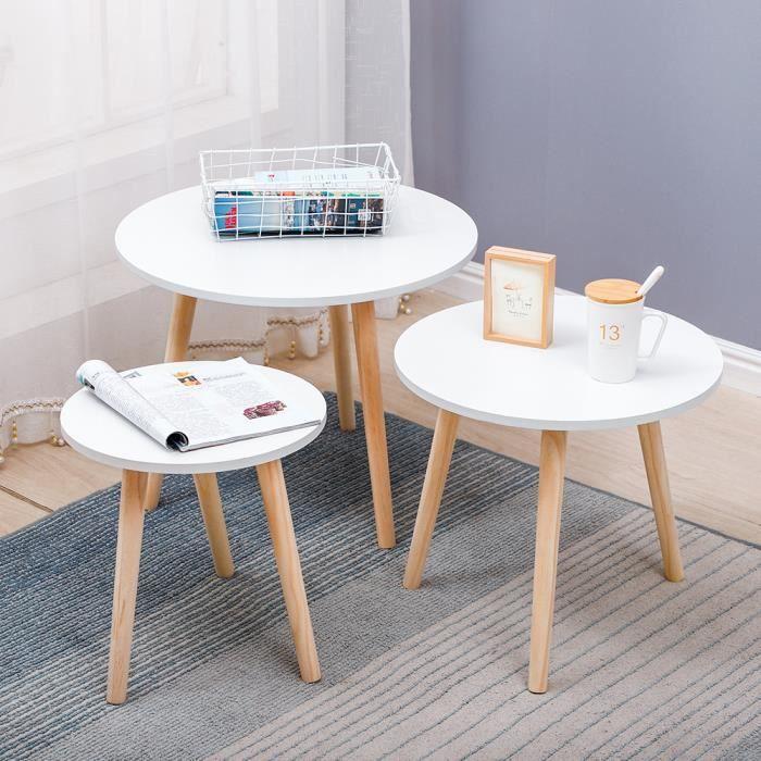 Set de 3 Tables basses gigogne ovales - Style contemporain et scandinave - Φ60&Φ50&Φ40cm