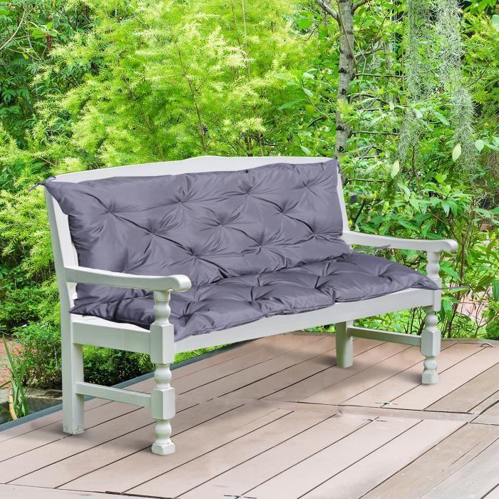 Coussin matelas assise dossier pour banc de jardin balancelle canapé 2 places grand confort 120 x 110 x 12 cm gris neuf 40