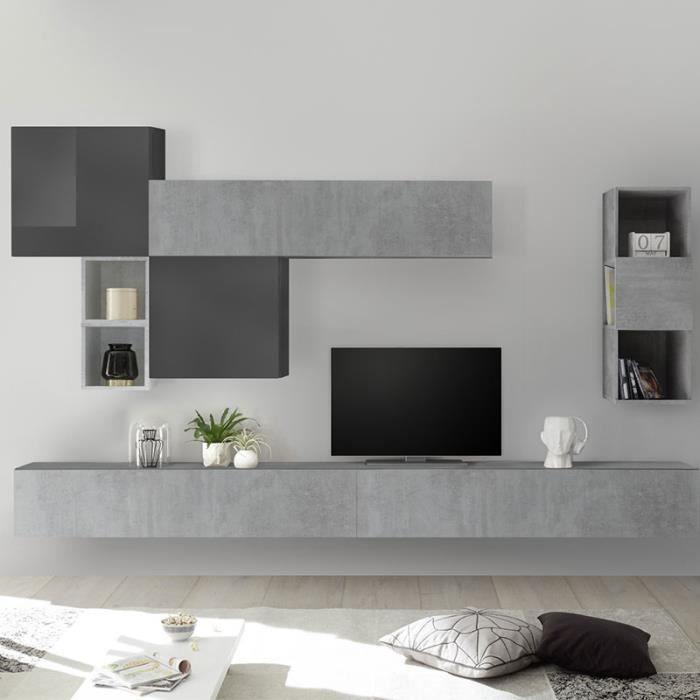 Composition murale TV gris design ROVIGO Gris L 275 x P 30 x H 200 cm