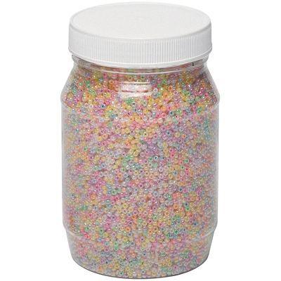 Perles rocailles irisees - bocal de 500g