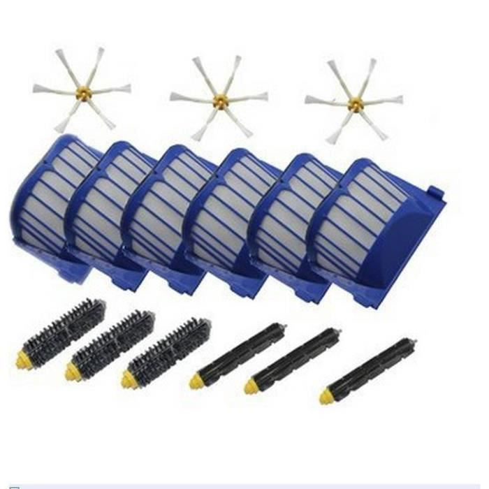 Kit De 3 extracteur brosse +6 Garde Filtre + 3 Brosse Latérale Pour iRobot Roomba série 600(595 620 630 650 660)Remplacement
