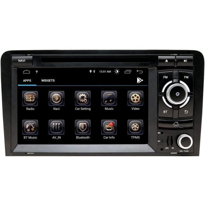 Stereo Home Autoradio stéréo Android 9 pour Audi A3 Lecteur DVD Radio 7- Écran Tactile HD Navigation GPS avec Bluetooth WiFi Co[477]