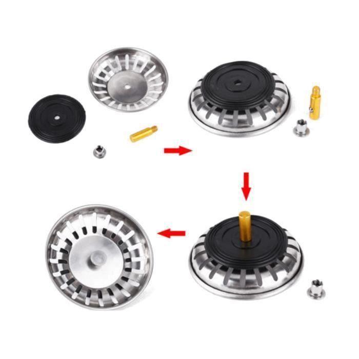 BH Grille Filtre Filtrage Evier Plug Passoire Panier Lavabo Inox pour Cuisine 83Mm - BHAVC824A1536