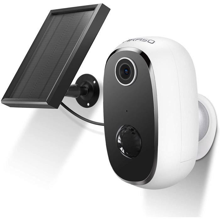 AKASO Caméra de Sécurité avec Panneau Solaire Batterie Rechargeable,Caméra IP Étanche Intérieure et Extérieure,Full HD 1080P WIFI,Co