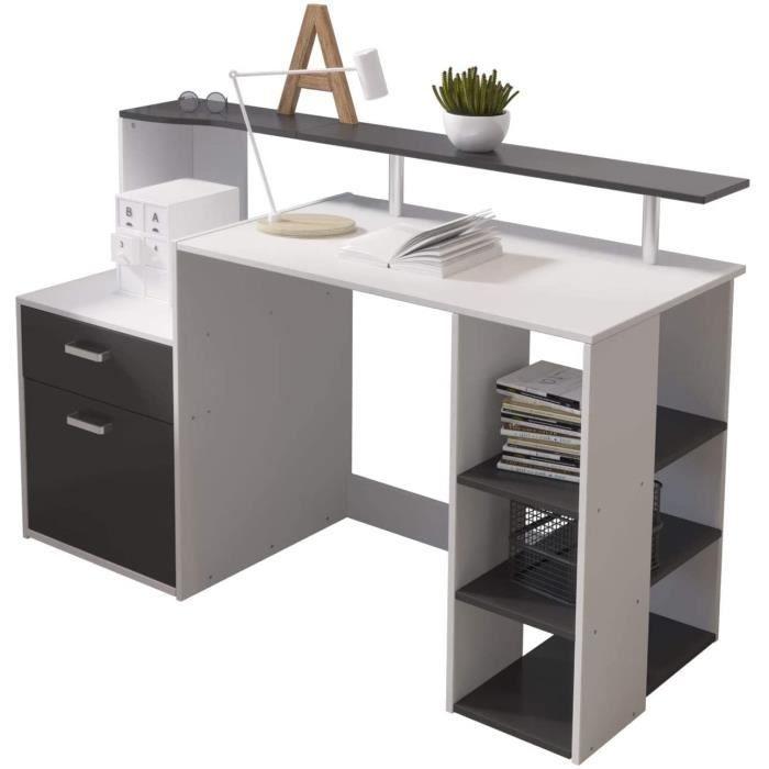Hadwin Bureau d'ordinateur pour la maison, bureau en bois avec tiroirs et étagères de rangement - Station de travail A110