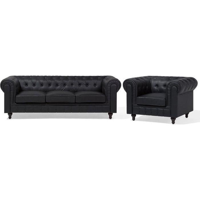 Beliani - Set canapé fauteuil en simili-cuir noir CHESTERFIELD Big