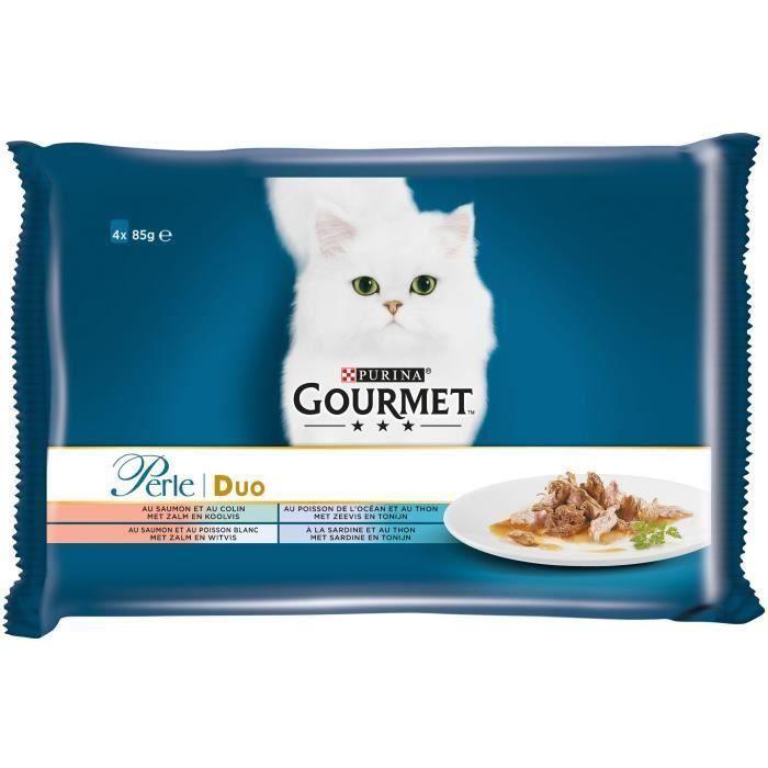 GOURMET Perle Duo de la mer - Sachets fraîcheur - Pour chat adulte - 4 x 85 g (Lot de 3)
