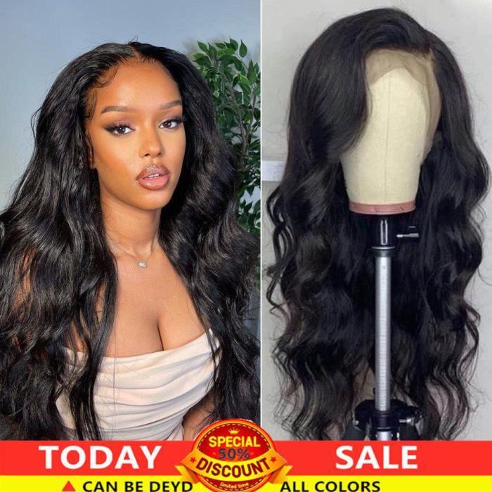 28-Perruque Brésilienne Naturelle Lace Front Cheveux Humains Body Wave Longue Pre-plucked Pour Femmes