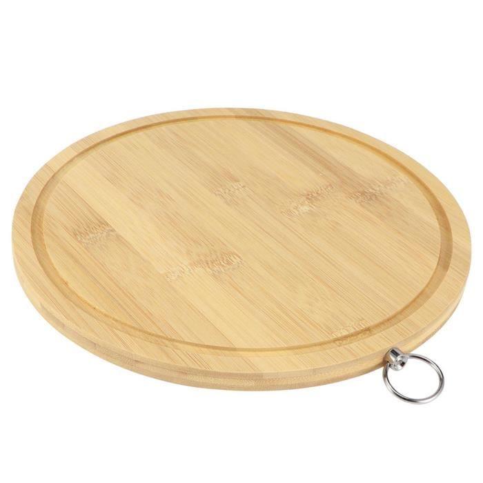 HURRISE Planche à découper de cuisine Planche à Découper Ronde en Bambou Planche à Découper de Légumes de Pâte pour Cuisine