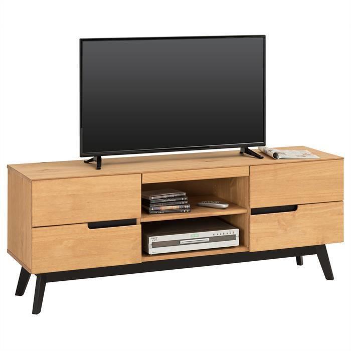 Meuble TV TIBOR banc télé de 149 cm style scandinave design vintage nordique 4 tiroirs 2 niches, en pin massif finition bois teinté