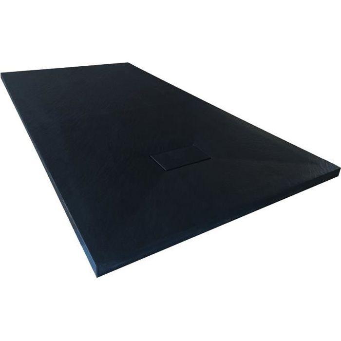 Receveur de douche extra plat PIATTO en SoliCast® 90x160 surface ardoisée, noir Noir