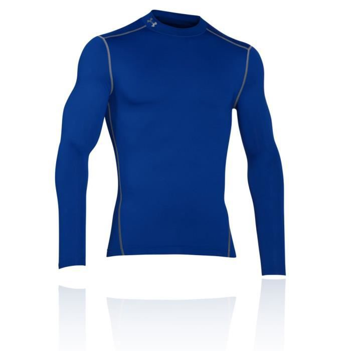 Under Armour Coldgear Armour Top De Compression Mock Manche Longue Sous- Vêtement Technique Homme Bleu