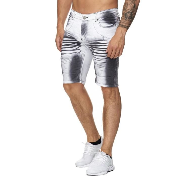 Short jeans fashion homme Short 3226 blanc