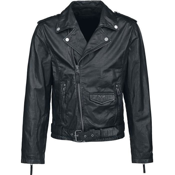 Black Premium by EMP The Road Crew Homme Veste en cuir noir