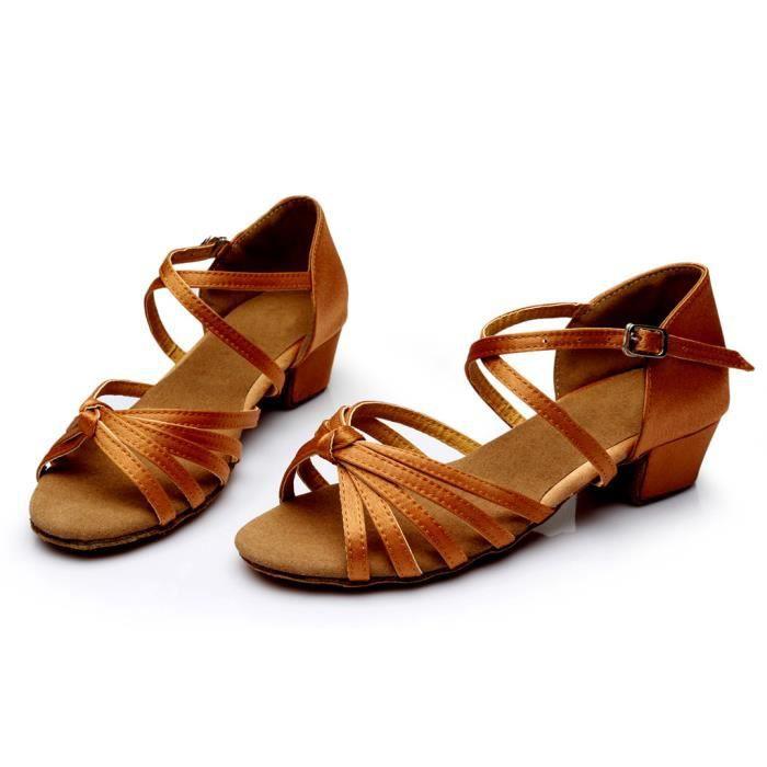 Mode féminine danse Rumba valse bal salle de bal chaussures de danse latine sandales -marron