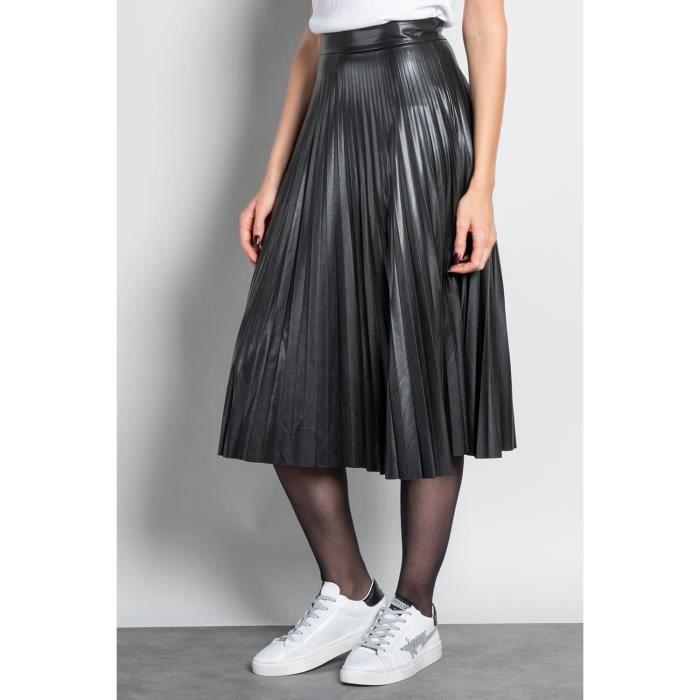 DEELUXE Jupe longue plissée effet cuir SISSY Black