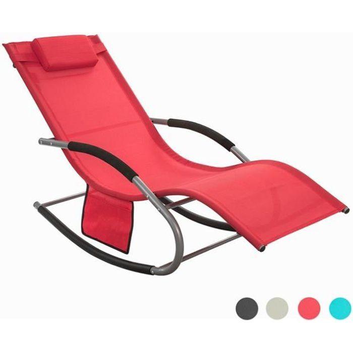 SoBuy® OGS28-R Fauteuil à bascule Chaise longue Transat de jardin Bain de soleil avec repose-pieds et 1 pochette latérale - Rouge