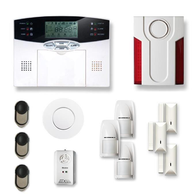 Alarme maison sans fil 3 à 4 pièces MN mouvement + intrusion + détecteur de fumée + gaz + sirène extérieure - Compatible Box Interne