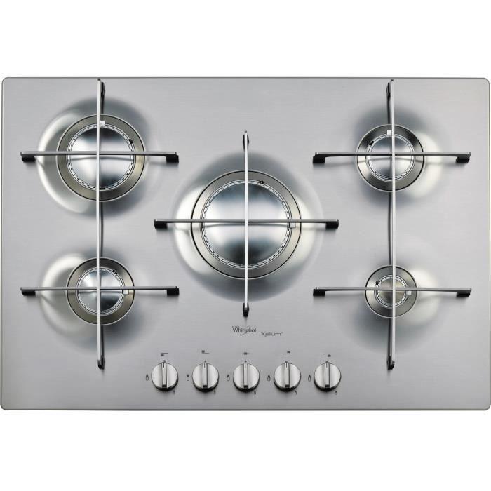 Whirlpool AKT 799-IXL, Intégré, Cuisinière à gaz, Acier inoxydable, Acier inoxydable, Rotatif, En haut devant