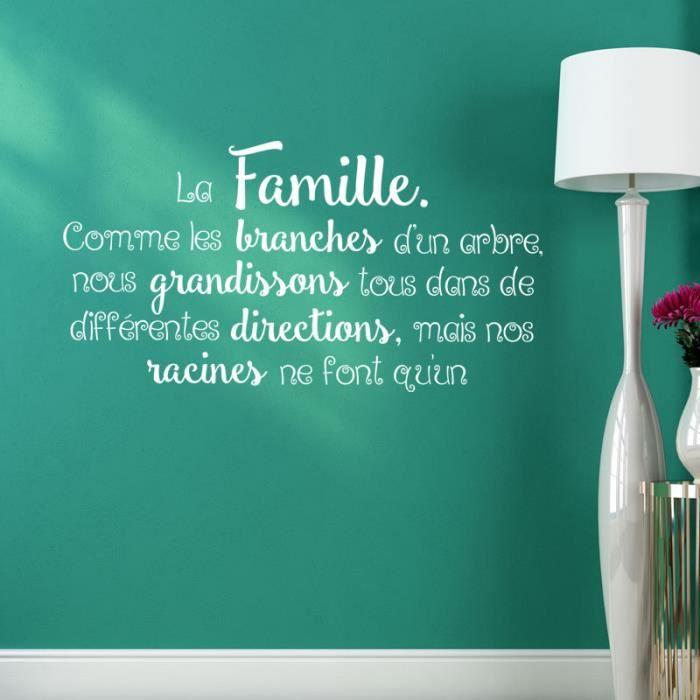 Stickers Muraux Citation La Famille Comme Les Branches Taille 110cmx59cm Blanc Achat Vente Stickers Cdiscount