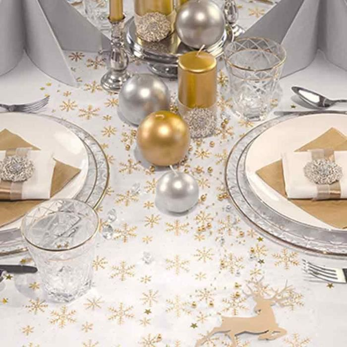 chemin nappe de table de noel flocons toiles dor or achat vente chemin de table jetable. Black Bedroom Furniture Sets. Home Design Ideas