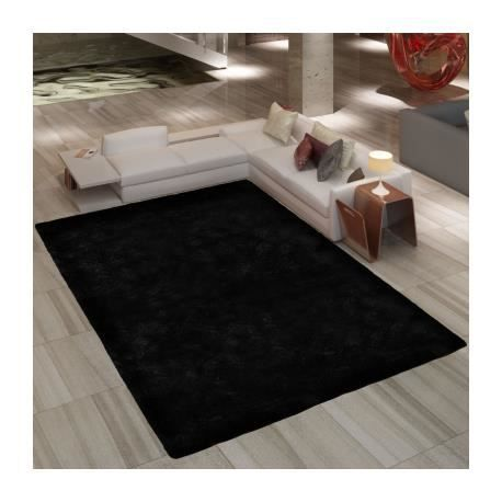 tapis poils long touffu noir 120 x 170 cm 2600g m2 achat vente tapis cdiscount. Black Bedroom Furniture Sets. Home Design Ideas