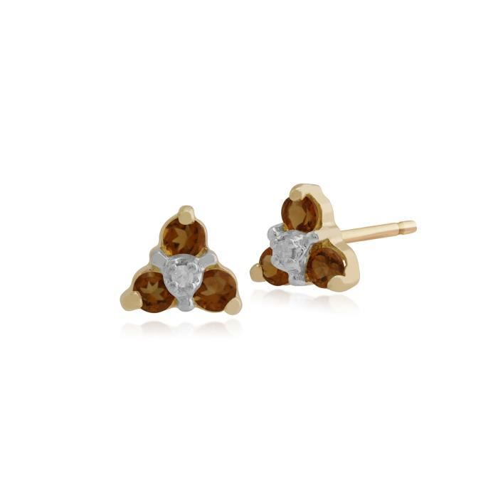 Gemondo Citrine Boucles Doreilles, 9ct Or Jaune 0.18ct Citrine & Diamant Floral Clous