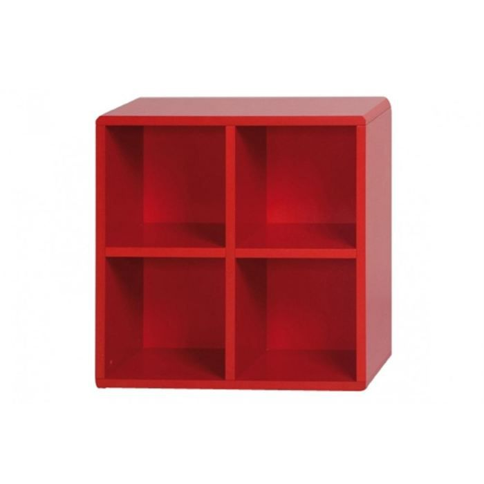 Cube de rangement 4 cases rouge id 39 clik achat vente for Meuble 4 cases but