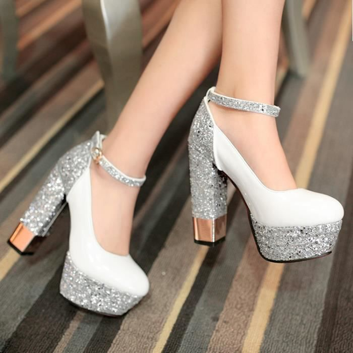 talons hauts-Pure Color High Heel Heel Thick Women Band Paillette Pompes
