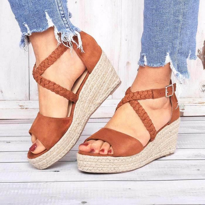 SANDALE - NU-PIEDS Femmes Mode Femmes Boucle Chaussures Compensées Ca