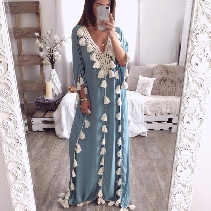 Femmes Robe Longue De Style Boheme Tassel Summer Beach Ethnique Party De Robe De Bleu Bleu Achat Vente Robe Cdiscount