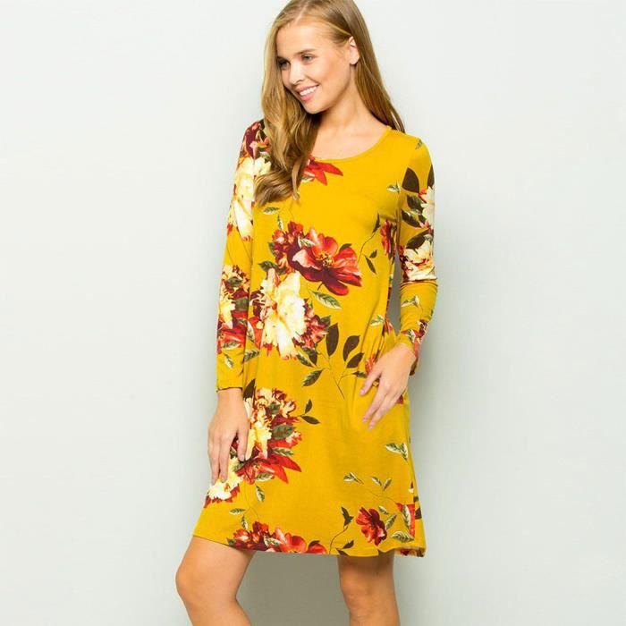 Femmes Col Rond Manches Longues Imprime Floral Tenue Decontractee Robe Tunique Fluide Robe Droite Jaune Jaune Achat Vente Robe Cdiscount
