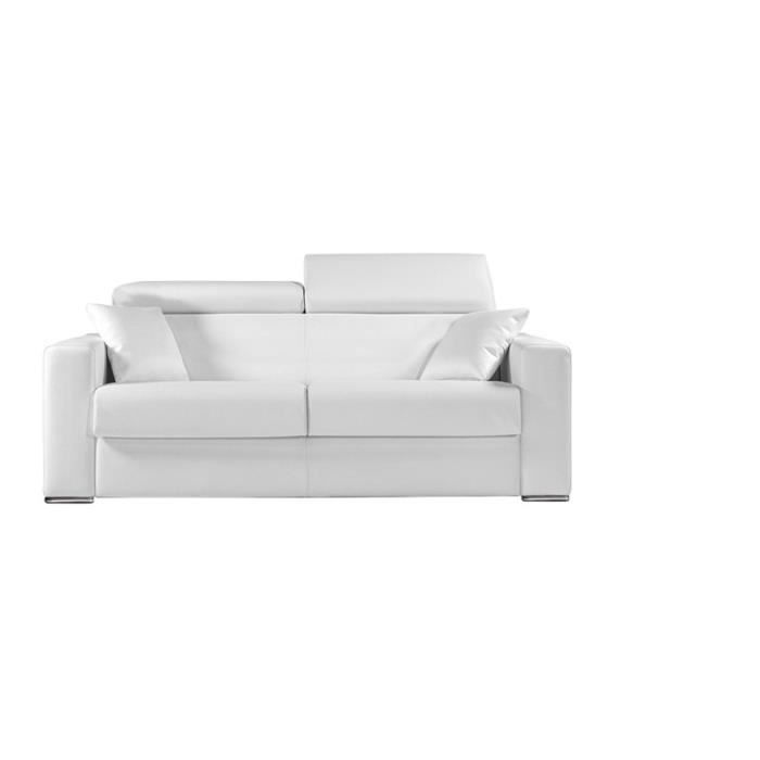 canap convertible omega vrai cuir blanc 140x190 achat vente canap sofa divan cuir. Black Bedroom Furniture Sets. Home Design Ideas